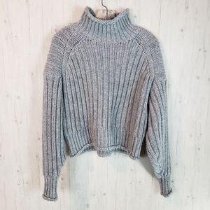 H&M Women's Boxy Grey Mock Sweater M Cable Knit